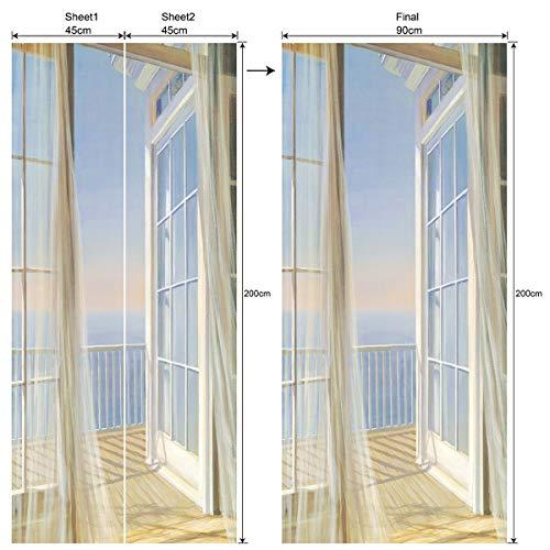 Ancoree 3D Balkonaussicht Vorhang Tür Wandbilder Herausnehmbare PVC Wasserdicht Wallpaper Selbstklebende Wandbilder...