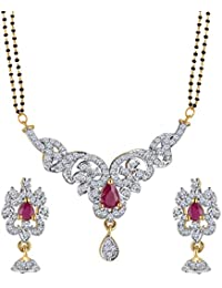 Spargz Gold Plated Ruby With AD Stone Studded Double Line Beaded Manglsutra Set For Women AIMS 133