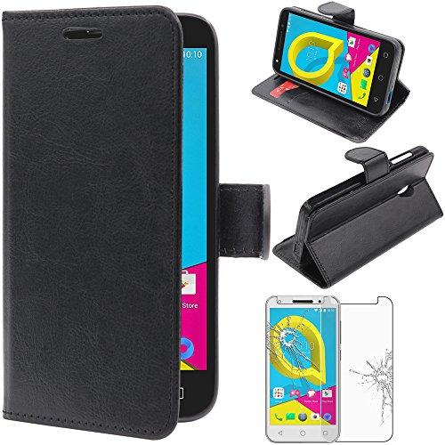ebestStar - Alcatel U5 Hülle U5 Kunstleder Wallet Case Handyhülle [PU Leder], Kartenfächern, Standfunktion, Schwarz + Panzerglas Schutzfolie [Phone: 140.7 x 71.8 x 10mm, 5.0'']