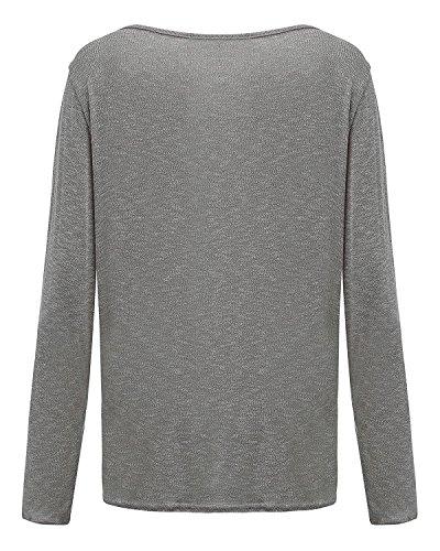ANDERINA New Damen Pulli Langarm T-Shirt Rundhals Ausschnitt Lose Bluse Langarmshirts Hemd Pullover Oversize Sweatshirt Oberteil Tops Shirts Grau