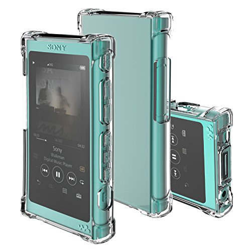 inorlo TPU Case Cover for Sony Walkman NW-A35, NW-A45 MP3 Player, with charger dust cap cover, corner bumpers and screen protector. (Clear Transparent)