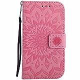 Galaxy S3 Hülle, Galaxy S3 Neo Hülle, Dfly Premium Slim PU Leder Mandala Blume prägung Muster Flip Hülle Bookstyle Stand Slot Schutzhülle Tasche Wallet Case für Samsung Galaxy S3 / S3 Neo, Rosa