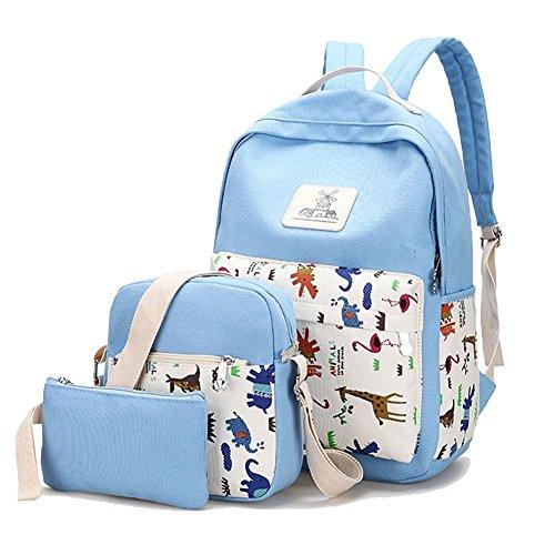 YiLianDa Schulrucksack Set Canvas Rucksack Mädchen/Damen Rucksack Schule Schulranzen Schultertasche Mäppchen Blau