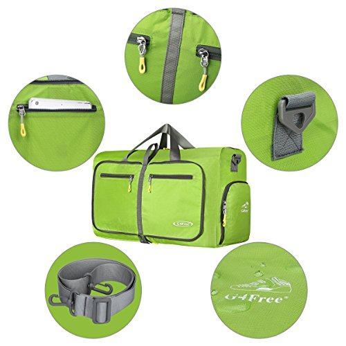 G4Free Leichte Faltbare Reise Duffle Tasche Übernacht Wochenende Reisetasche mit Schuh Abteil Grün