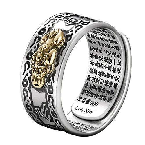 Leobtain Land Men Pi Xiu Charms Open Ring Feng Shui Amulet Wealth Lucky Open Adjustable Ring Buddhist Jewelry Gifts -