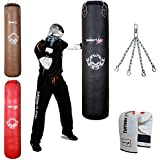 TurnerMAX Genuine Cowhide Leather Boxing Punch Bag Heavy FILLED with Free Chain and Bag Gloves Kickboxing punching bag