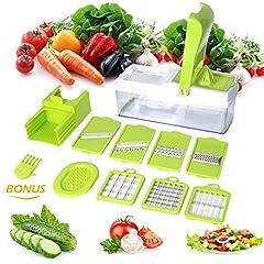 Idea Regalo - Taglia Verdure e Mandolina da Cucina con 7 Tipi Diversi di Lama e uno Spremiagrumi, Taglierina da Cucina, Affetta Patate Verdure, Frutta, Grattugia - Duomishu