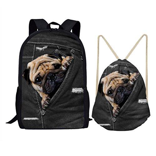 nimal schwarz Kordelzug Tasche Outdoor Reisen Rucksack für Kinder Geschenk M pug dog set ()