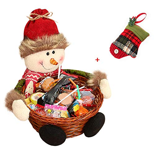 Cesta de almacenaje para Navidad de Keepwin, para caramelos o decoración, diseño de Papá Noel, muñeco de nievo, reno y elfo, bambú, muñeco de nieve, 22*22CM