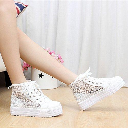 Chaussures De Sport En Dentelle Creuse Longra Femme, Chaussures De Toile Occasionnels Blanc