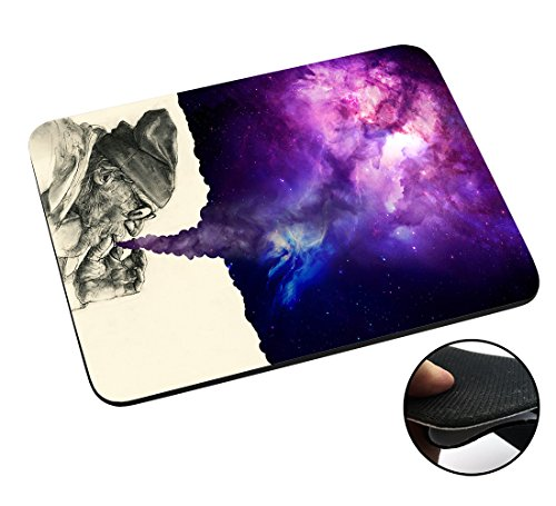 003032 - Old Hobo Smoking Weed Tornado Galaxy Design Macbook PC Laptop Anti-slip Mousepad Mouse Mat Tpu Leather Stark haftende Unterseite für optimalen Halt (Floral-design-hobo)