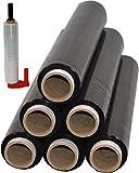 6 Rollen + Abroller Beste-Folie Stretchfolie 23my 500mm - 1,5 Kg verschieden Farben Palettenfolie Handfolie Wickelfolie (6er schwarz + Abroller)