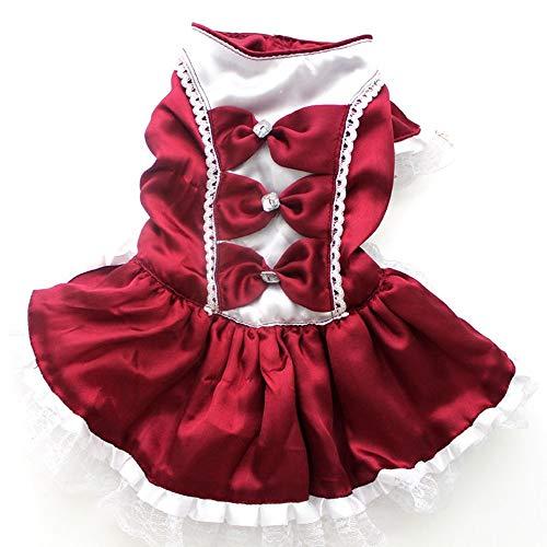 ZHONGCHENYI Pet Supplies Rot/Blau Bogen Sommer Katze Kleid Hund Hochzeit Kleid Party Magd Kostüm Haustier Rock Welpe Kleidung Welpe, (Rote Pudel Rock Kostüm)