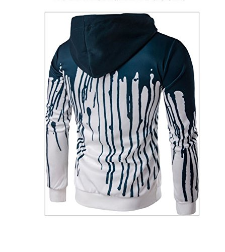 Herren Long Sleeve Hooded Splash-Tinte 3D Digital Print Baumwolle Pullover Sweatshirts Grün