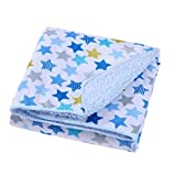 #10: Baby Bucket AC Double Layer Velvet Fleece Newborn Printed 102cm X 76cm Size Baby Blanket(White & Blue Stars)