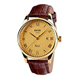 Randon Luxury Classic Design Analog Quartz Business Watches with Calendar Leather Strap Wristwatch