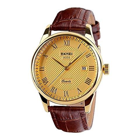 Randon Classic Design Analog Quartz Business Watches with Calendar Leather