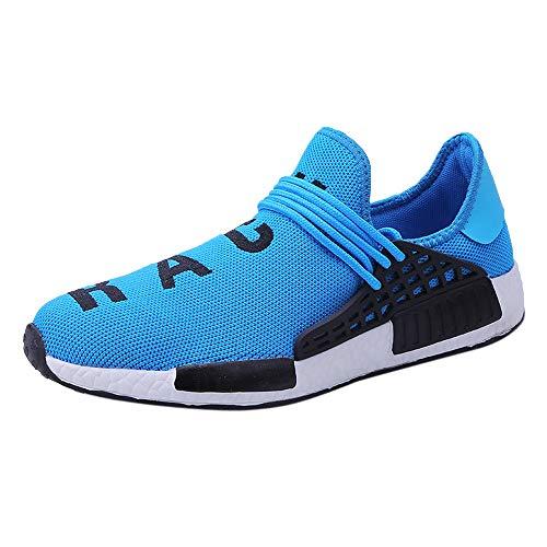 Logobeing Zapatos de Gimnasia Hombre Zapatillas de Deporte Antideslizantes para Correr Zapatillas de Deporte Hombre Zapatillas de Running (42,Azul)