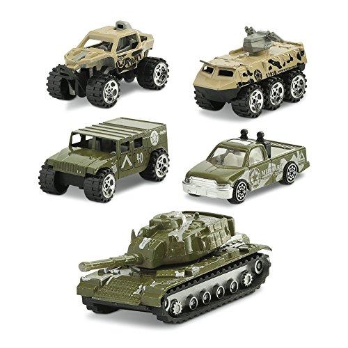 Juego - army set i 5 mezzi di trasporto militari i riproduzione originale i giocattoli prima infanzia i testati per i bambini - multicolore [lingua inglese]