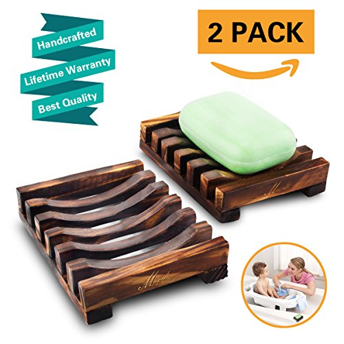2Pcs Wooden Soap Dish Bamboo Soap Holder Sink Deck Soap Box Tray Holes Hand Craft Natural Soap Dish Drainer for Bathroom Shower Sponges Scrubber Soap