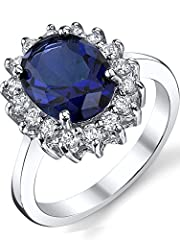 Idea Regalo - Ultimate Metals® anello di fidanzamento in argento con Zaffiro blu (Kate Middleton) - fede nuzilae in argento con zaffiro blu da donna