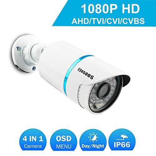 Telecamera di sicurezza Bullet COSOOS 1080P 1920TVL, ibrida 2.0 Megapixel 4-in-1 HD-TVI/CVI / AHD/CVBS Telecamera di sorveglianza esterna/Interna impermeabile, obiettivo 3,6 mm 48 LED