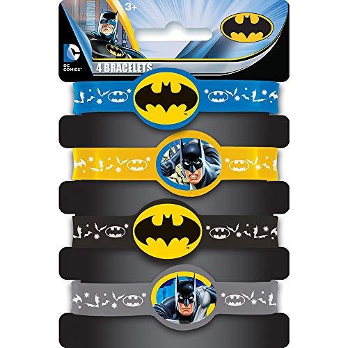 Kids Party Kostüm City - KULTFAKTOR GmbH Batman-Armbänder Lizenzartikel 4 Stück bunt Einheitsgröße