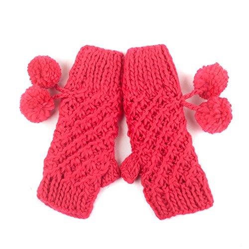 Filles Gants tricotés avec pompons Fuchsia