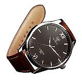 YaZhuoLun Herren-Armbanduhr Legierung PU-Leder 3ATM Wasserdicht Uhren Uhr(Braun)