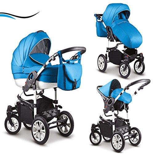 """16 teiliges Qualitäts-Kinderwagenset-Reisesystem 3 in 1""""COSMO"""" in 41 Farben: Kinderwagen + Buggy + Autokindersitz + Schwenkräder - Mega-Ausstattung - in Farbe (C-5) AZZURBLAU-WEISS"""