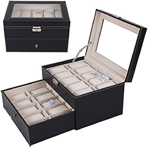 Sannysis Cajas para relojes Joyería con 20 ranuras color negro