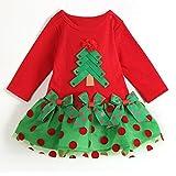 Robe Bébé Cadeau Noël - Robe Fille Robe à Pois Arbre Noël Père Noël Robe Manches Longues Jupe Nouvel An Rouge Vert Mxssi