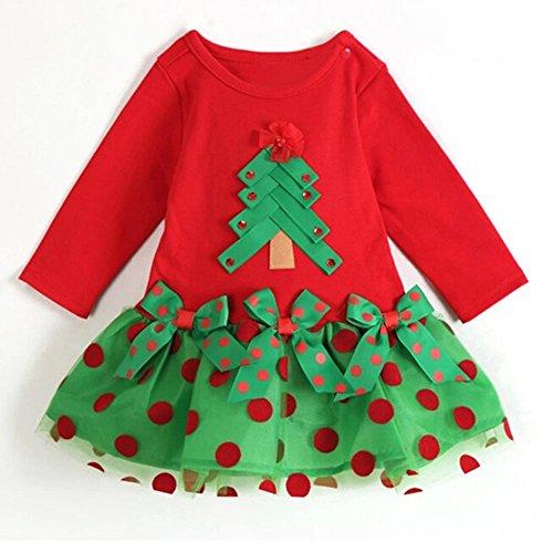 Vestito neonato regalo natale - vestiti ragazza abito pois albero natale babbo natale abito lungo manica gonna nuovo anno rosso verde mxssi