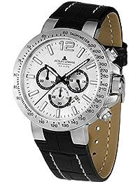 Jacques Lemans Herren-Armbanduhr XL Chronograph Quarz Leder 1-1759B