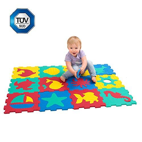 Puzzlematte für Babys und Kinder, Spielteppich | 12 Schaumstoffplatten in einer Aufbewahrungstasche | +20% dicker Spielmatte | Nicht giftig, schadstofffrei, TÜV geprüft | 1 Jahr freie Garantie