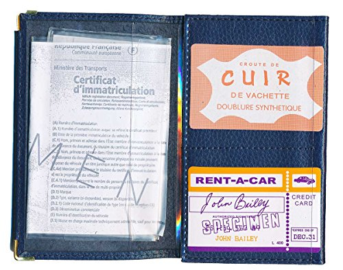 Schutz Tasche Leder Schutzhülle für Kfz-Papiere-FÜHRERSCHEIN Personalisierte mit der Registrierungsnummer Ihres Autos Blau