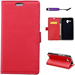 Coque Alcatel One Touch Pop 3 5.5 inch, CaseFirst Etui Portefeuille Antichoc Cuir Etui PU Housse Protectrice Flip Magnétique Cover Anti-rayures Etui Ultra Mince Leather Wallet Case (Rouge)