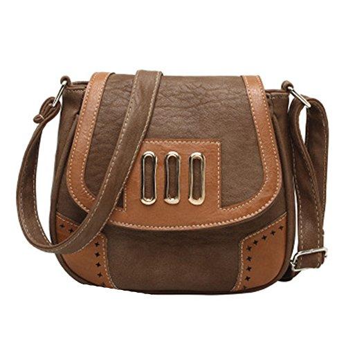 GSPStyle Damen Handtasche Schultertasche Umhängetaschen Women Handbag Damentasche Dunkelbraun