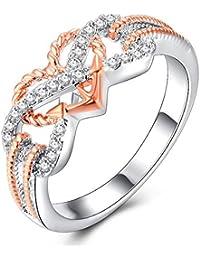Impression 1PCS Ringe Ring Liebe Muster Diamant-Ring Mode-Ring Schmuck-Girl Zubehör Valentinstag Geschenke aus Glas Hochzeit Ring offen