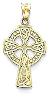 IceCarats 14k Yellow Gold Irish Claddagh Celtic Knot Cross Religious Gift Necklace Pendant Charm