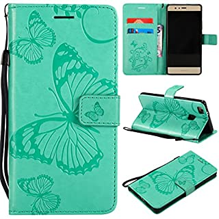 LMFULM® Hülle für Huawei P9 Lite/VNS-L31 (5,2 Zoll) PU Leder Magnet Brieftasche Lederhülle Schmetterling Geprägtes Design Stent-Funktion Flip Cover für Huawei P9 Lite 2016 Grün