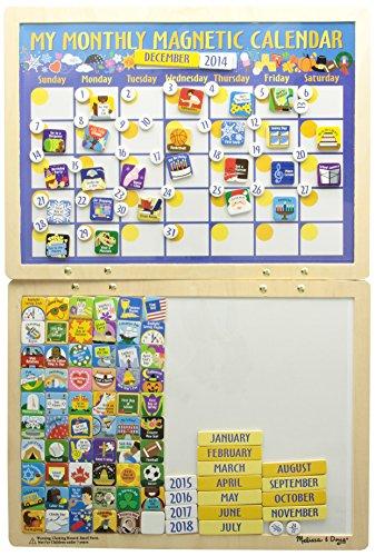 Melissa & doug- calendario magnetico in legno con 134 magneti, 13788