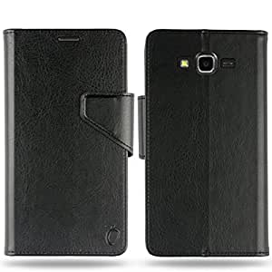 Cool Mango Business Flip Cover for Samsung Galaxy J7 (2015) - 100% Premium Faux Leather Flip Case for Galaxy J7 with 360 Degree Stitching, Magnetic Lock, Card & Currency Wallet – Limited Time Offer Pricing (Midnight Black)