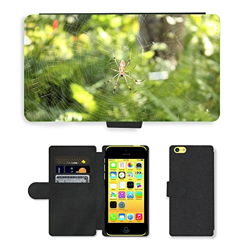 Just Mobile pour Hot Style Téléphone portable étui portefeuille en cuir PU avec fente pour carte//m00138718araignée insectes Nature isolée Bug//Apple iPhone 5C