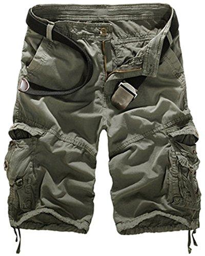 Mochoose uomo casual camouflage cotton twill cargo shorts pantaloncini multi tasche estate abbigliamento outdoor pantaloni(grigio,31)