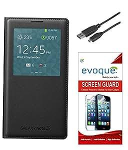 Evoque Flip Cover For Samsung Galaxy Note 3 N9000 + Screen Guard + Micro USB ...