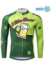 Thriller Rider Sports® Hombre I Like Beer Deportes y Aire Libre Invierno Térmico Calentar Chaqueta de Ciclismo 4X-Large