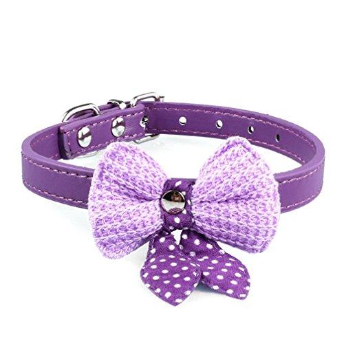 es Halsband aus Leder mit gehäkelter Fliege und gepunkteten Schleifenbändern für Hunde, Katzen und Welpen, violett, 0647903005413 Medium (Bilder Von Haustiere In Kostüme)