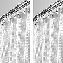 mDesign Juego de 2 cortinas de ducha de lujo en tejido de mezcla de algodón –