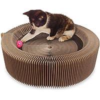 AK KYC Gato Cat Scratcher Lounge Cartón Plegable Que rasguña el cojín Redondo de la Cama Alta para Mascotas Scratcher Cat Scratching Juguete Herramienta de Entrenamiento